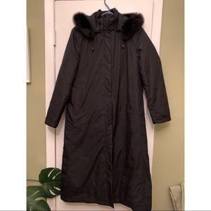 Full length goose down jacket